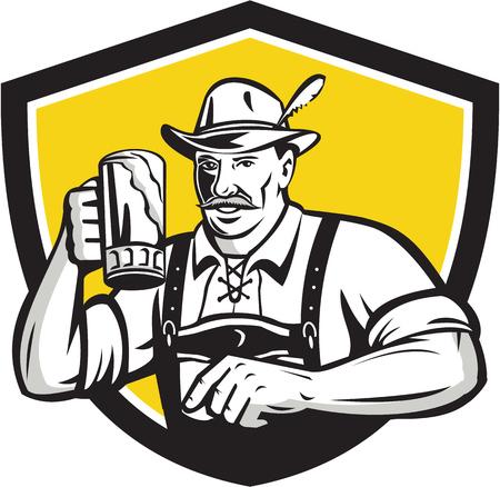 the drinker: Illustration of a German Bavarian beer drinker raising beer mug for Oktoberfest toast wearing lederhosen and German hat set inside crest shield done in retro style. Illustration