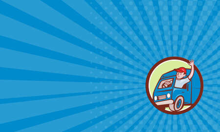 chofer: Tarjeta de visita que muestra la ilustración de un sombrero de hombre de salida que lleva agitando la conducción de camiones furgoneta de reparto fijó el círculo interior en el fondo aislado hecho en estilo de dibujos animados.