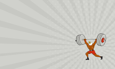 physical exercise: Business card showing Cartoon style illustration of a bald eagle weightlifter lifting barbell looking up to the side set on isolated white background.