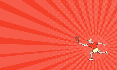 forehand: Business card showing illustration of a tennis player holding racquet playing tennis doing a forehand shot viewed from the side set on isolated white background done in cartoon style.