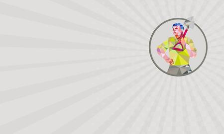 horticulturist: Business card showing Low polygon style illustration of male gardener landscaper horticulturist holding shovel spade on shoulder hand on hips facing front done set inside circle.