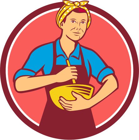 serving people: Illustration of a housewife woman cook wearing bandana holding mixing bowl and wooden spoon spatula viewed from front set inside circle done in retro style.