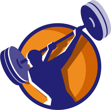 man rear view: Illustration of a weightlifter lifting swinging barbell looking to the side viewed from rear set inside circle on isolated background done in retro style. Illustration