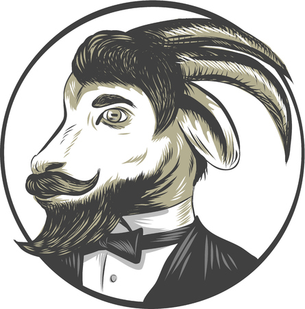 scratch board: Drawing sketch style illustration of a goat ram with big horns and moustache beard owearing tie tuxedo suit looking to the side set inside circle.