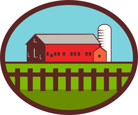 silo: Illustration of a farm house barn and silo with fence set inside oval shape done in retro style.