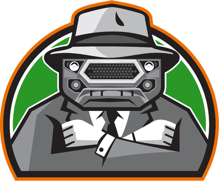 mobster: Illustration of an angry mobster with car grille grill face wearing hat , tie and suit arms folded facing front set inside half circle done in retro style.