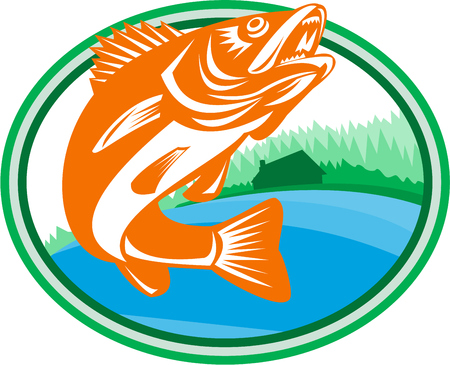 Illustration of a Walleye (Sander vitreus, formerly Stizostedion vitreum), a freshwater perciform fish  with lake and cabin in the woods in the background set inside oval shape done in retro style.