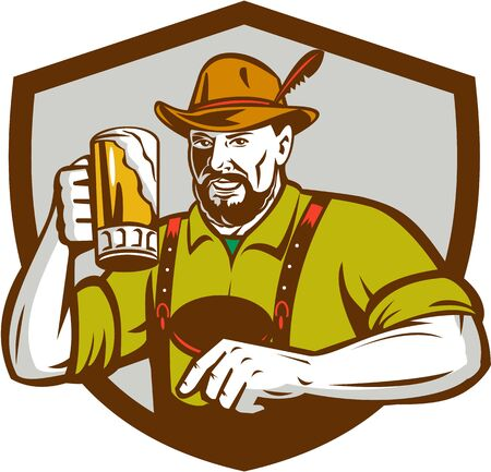 Illustration of a German Bavarian beer drinker raising beer mug for Oktoberfest toast wearing lederhosen and German hat set inside shield creest done in retro style. Vetores