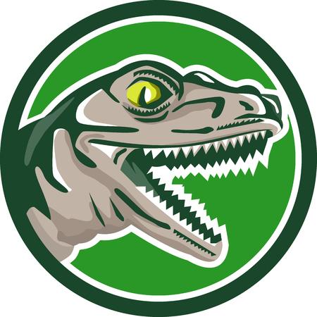 Ilustración de una cabeza de dinosaurio lagarto reptil rapaz t-rex visto desde el lado fijó el círculo interior en el fondo aislado hecho en estilo retro.