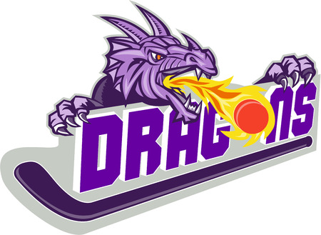 dragon head: Illustration of a purple dragon head breathing fire on puck with hockey stick and word Dragons on isolated white background.
