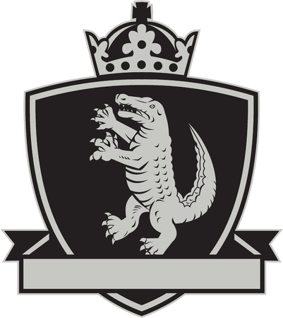 gator: Illustration of coat of arms of an angry gator alligator crocodile standing viewed from side set inside crest shield with crown on top and leaf ribbon done in retro style on isolated background. Illustration