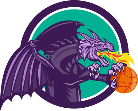 Illustration of a purple dragon breathing fire clutching holding an orange basketball viewed from the side set inside circle on isolated background done in retro style. Illustration