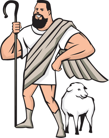 crook: Illustration of a cartoon superhero shepherd holding shepherds crook and a sheep standing beside looking to the side set on isolated white background done in cartoon style.