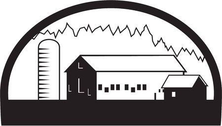 silo: Black and white illustration of a farm house barn and silo set inside half circle shape done in retro style. Illustration