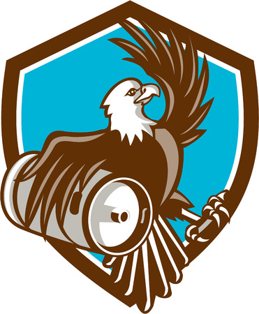 american bald eagle: Illustration of an american bald eagle carrying beer keg viewed from the side set inside shield crest on isolated background done in retro style. Illustration