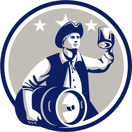 Illustration of an American Patriot holding a beer mug toasting while carrying beer keg set inside circle with stars in the background done in retro style. Иллюстрация