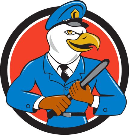 nightstick: Illustration of an american bald eagle policeman holding baton looking to the side  set inside circle on isolated background done in cartoon style. Illustration