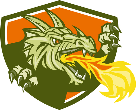 dragon head: Illustration of a dragon head breathing fire looking to the side set inside shield crest done in retro style. Illustration