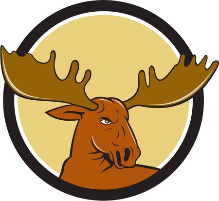 palmate: Illustration of a moose head looking to the side set inside circle on isolated background done in cartoon style.