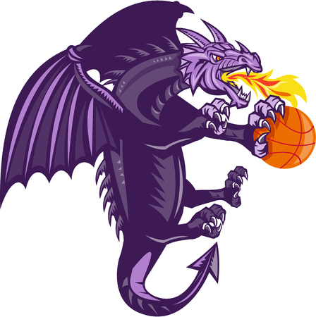 clutching: Illustration of a purple dragon breathing fire clutching holding an orange basketball viewed from the side set on isolated white background done in retro style. Illustration