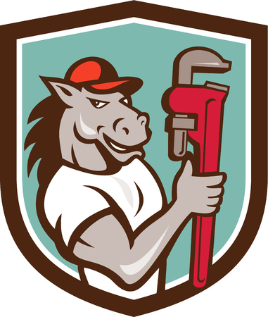 Illustration of a horse plumber holding monkey wrench set inside shield crest on isolated background done in cartoon style.
