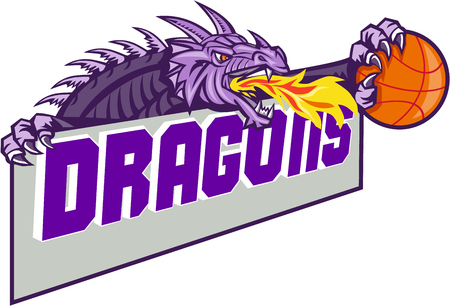 claw: Illustration of a purple dragon head breathing fire clutching basketball ball and banner with the word Dragons set on isolated white background done in retro style. Illustration
