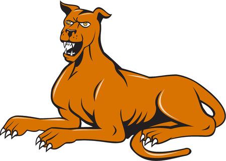 mongrel: Illustration of a mastiff dog mongrel sitting barking set on isolated white background done in cartoon style.