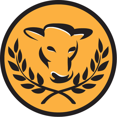 front facing: Illustration of cow bull head facing front with laurel leaves set inside circle on isolated background done in retro style.