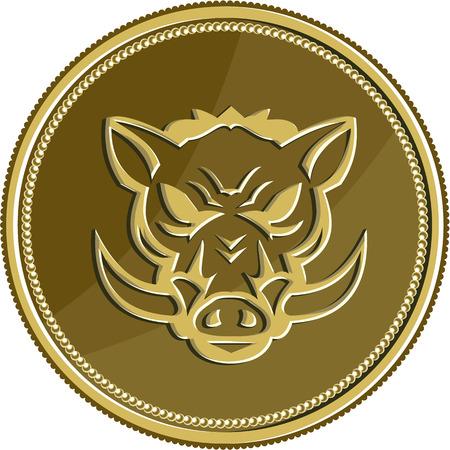 jabali: Ilustración de una cabeza de cerdo de cerdo salvaje enojado se ve desde el tren delantero en el interior medalla de moneda de oro hecho en estilo retro. Vectores