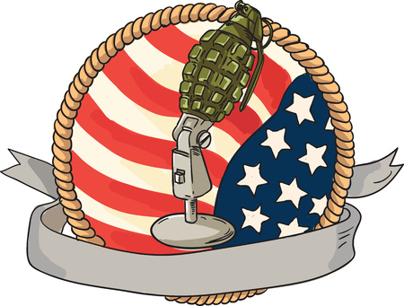 shrapnel: Illustration of a world war two grenade mounted on a vintage microphone stand with USA stars and stripes flag in the background with ribbon scroll banner in front set inside rope circle done in retro style.