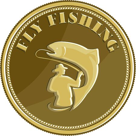 Illustration of a fly fisherman fishing casting rod and reel reeling trout viewed from rear set inside gold brass coin done in retro style. Illustration