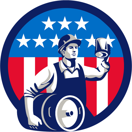 keg: Illustration of an American builder construction worker wearing hardhat holding a beer mug toasting while carrying beer keg set inside circle with USA stars and stripes on isolated white background done in retro style.