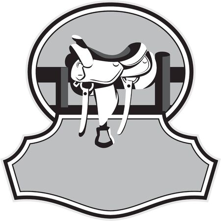 western saddle: Illustration of a modern western saddle on ranch fence set inside oval shape with banner in front in black and white done in retro style.