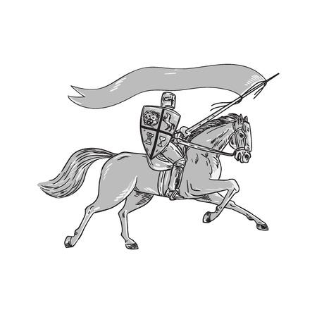 Illustratie van ridder te paard in volle wapenrusting met lans, schild en vlag rijpaard gezien vanaf de kant op witte achtergrond gedaan in retro stijl.
