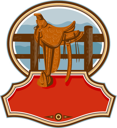fender: Illustration of an old style western saddle with decoration sitting on ranch fence set inside oval shape with banner in front done in retro style.