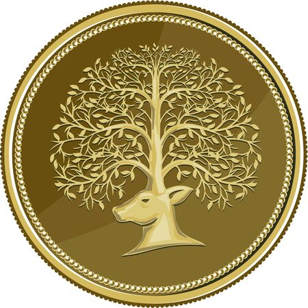 gold leaf: Illustration of a deer head viewed from the side with antler made of trees branches and leaves set inside gold coin medallion done in retro style.