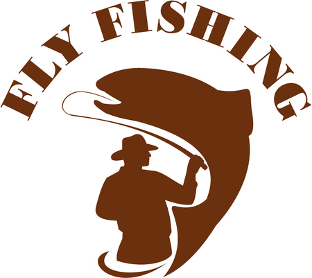 fly fishing: Illustration of a fly fisherman fishing casting rod and reel reeling trout with the word FLY FISHING viewed from rear set on isolated white background done in retro style. Illustration