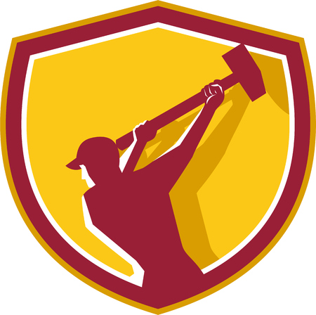 Illustration of a demolition worker wearing hat swinging sledgehammer viewed from rear set inside shield crest done in retro style.