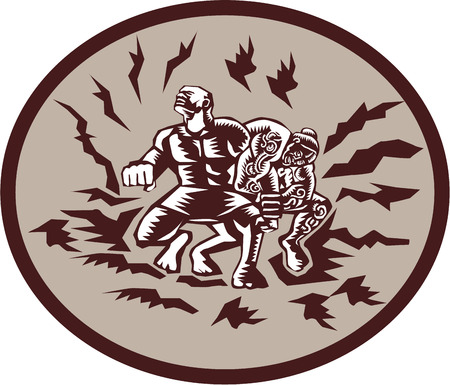 fighting: Illustration of Samoan legend Tiitii wrestling the God of Earthquake and breaking his arm set inside circle done in retro woodcut style