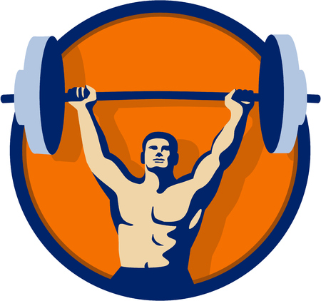 Illustration of a weightlifter lifting barbell weights with both hands viewed from front set inside circle done in retro style. Illustration