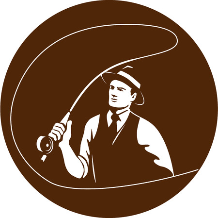 fedora: Illustration of a mobster gangster fly fisherman wearing fedora hat fishing casting fly rod set inside circle on isolated background done in retro style.