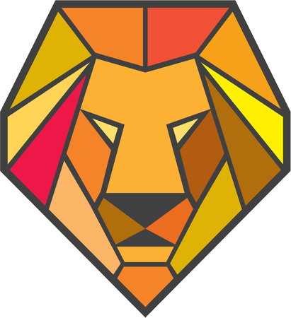 low poly: Low polygon style illustration of a lion big cat head viewed from front set on isolated white background.