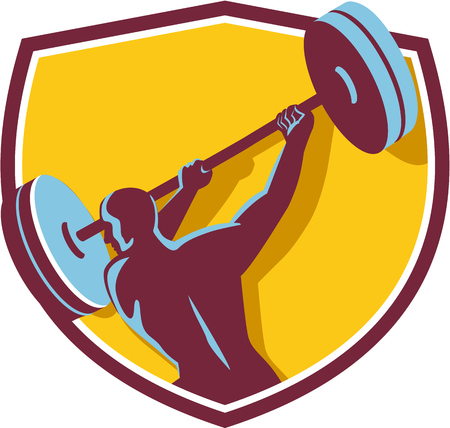 weightlifter: Illustration of a weightlifter lifting swinging barbell with both hands looking to the side viewed from rear set inside shield crest on isolated background done in retro style. Illustration