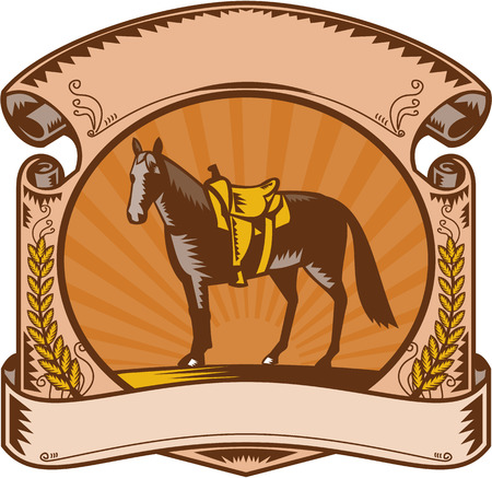 western saddle: Illustration of a riderless horse with old style western saddle on ranch fence set inside oval shape with scroll and laurel leaves and sunburst in background done in retro woodcut style.