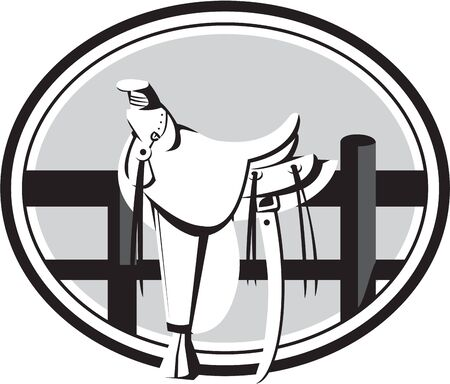Illustration of an old style western saddle sitting on ranch fence set inside oval shape in black and white done in retro style.