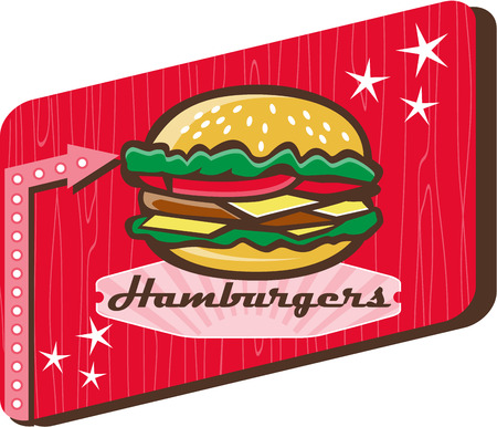 patty: Illustration of a retro 1950s diner style hamburger, burger or cheeseburger with meat patty, lettuce, tomato and cheese slices in bun set inside rectangular sign with woodgrain.