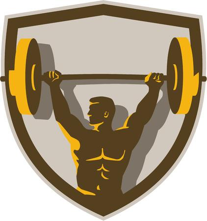 pesas: Ilustración de un levantador de pesas levantamiento de pesas de mancuerna con ambas manos mirando hacia el lado visto de frente fijó dentro cresta escudo hecho en estilo retro.