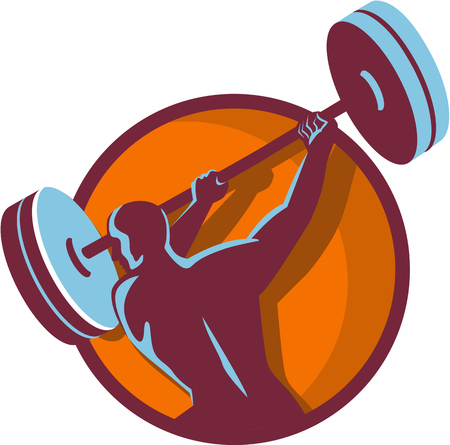 man rear view: Illustration of a weightlifter lifting swinging barbell with both hands looking to the side viewed from rear set inside circle on isolated background done in retro style.