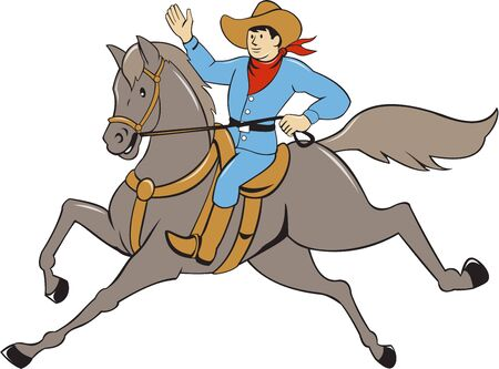 arm raised: Illustration of a cowboy with arm raised riding horse viewed from the side set on isolated white background done in cartoon style.