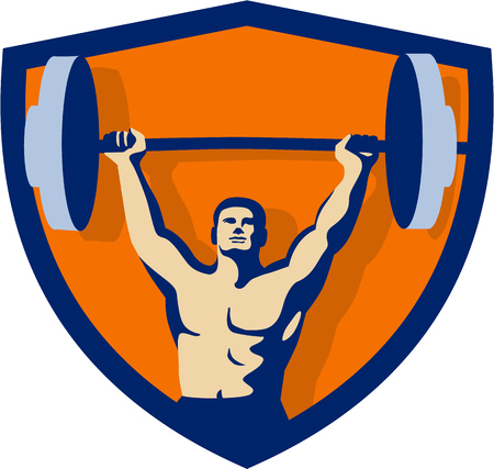 Illustration of a weightlifter lifting barbell weights with both hands viewed from front set inside shield crest done in retro style.